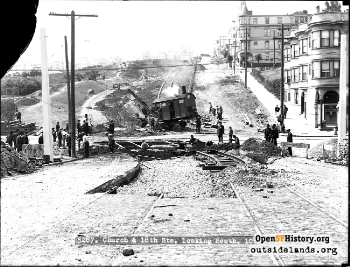 Streetcar tracks construction work at Dolores Park, May 15, 1916.