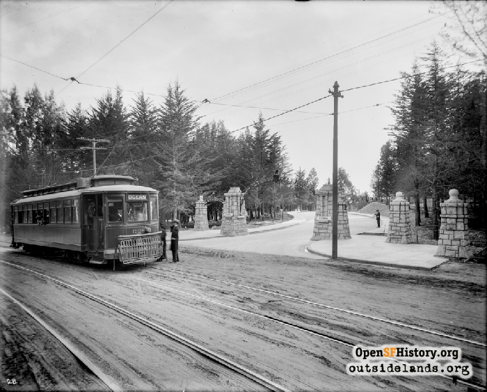 #12 streetcar stopped at Ingleside Terraces entry gate, circa 1910.