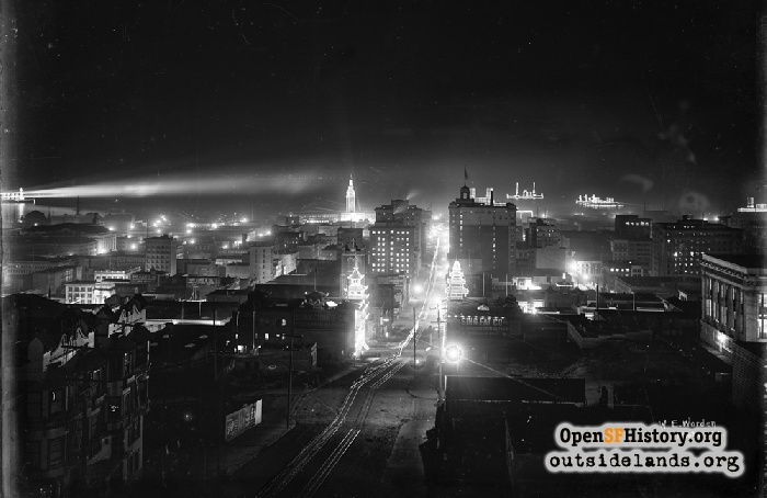 Night view looking east down California Street from Powell, circa 1910.