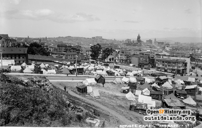 View east from Mint Hill at small refugee camp by Hermann, Laguna, Market intersection, 1906.