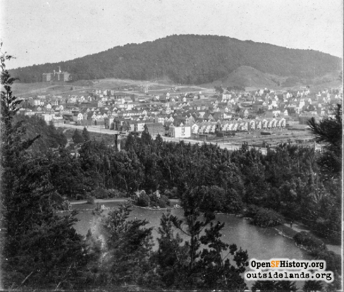View southeast from Strawberry Hill toward Mt. Sutro, circa 1910.