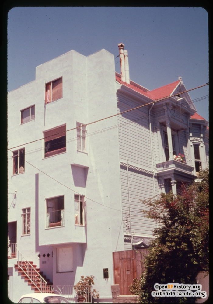 3514 21st Street with modernized stucco facade with side elevation of Victorian style intact, 1970s.