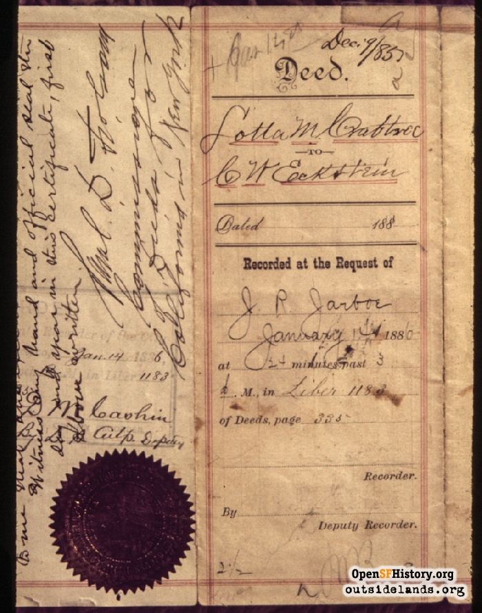 Deed from Lotta Crabtree to G.W. Eckstein, January 14, 1886.
