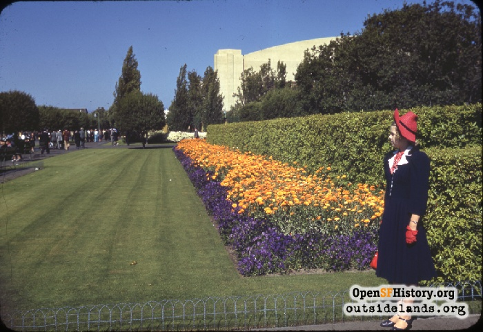 Flower bed on California Avenue on Treasure Island, July 4, 1940.