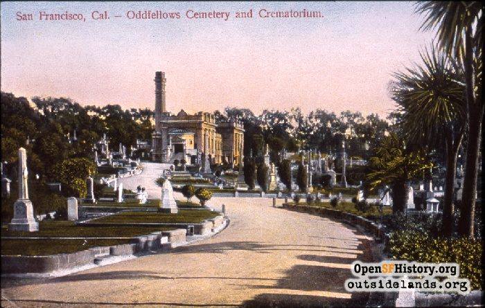 M. Rider postcard of Odd Fellows Cemetery, Crematorium at center, circa 1908.