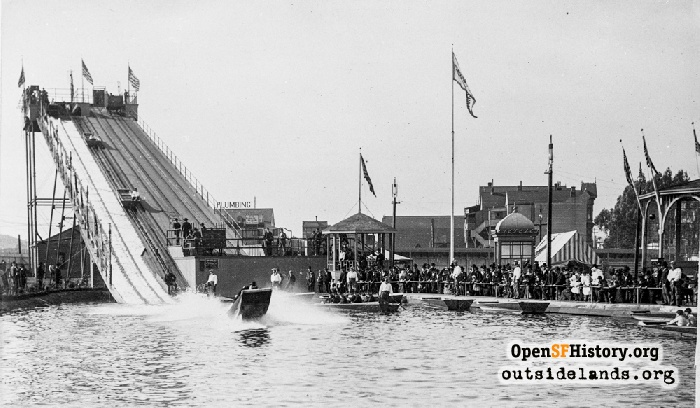View of Haight Street chutes ride on Opening Day, November 2, 1895.