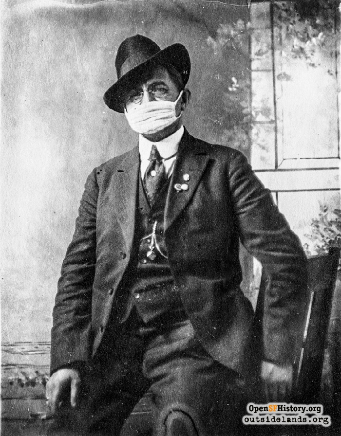 Man wearing influenza mask, 1918.