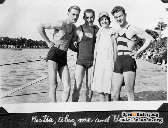 Kostia, Alex, Norma Ball, & Boris at Fleishhacker Pool, circa 1928.
