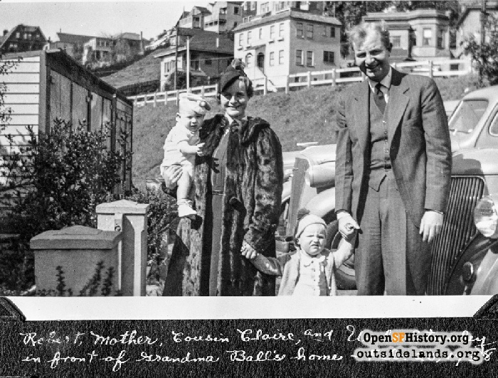 Norma Norwood, children and brother posed in front of 14 Museum Way, with Roosevelt Way houses in background, February 20, 1938.