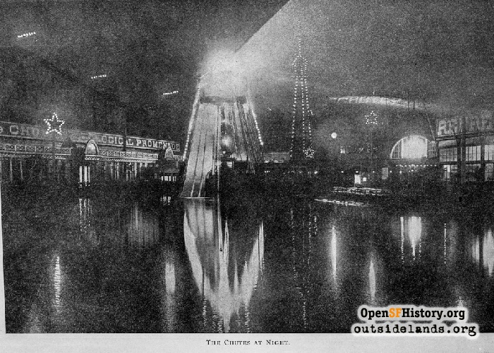 The Chutes at night, circa 1901.