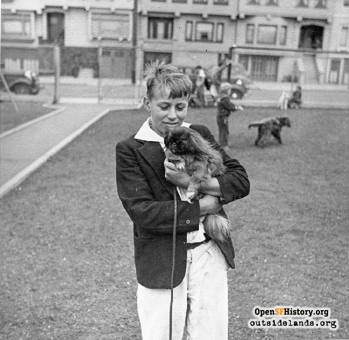 Boy and his dog at Argonne Playground, 1940s.