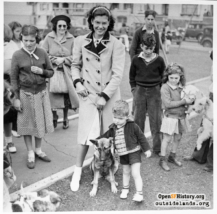 Women and children with dogs at Argonne Playground, 1940s.