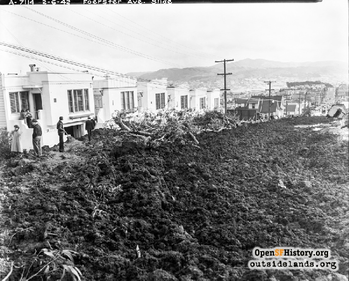 People standing on muddy debris on Foerster Street after mudslide, February 6, 1942.