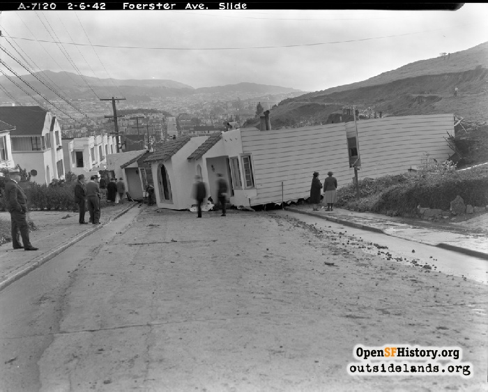 Looking south on Foerster Street after mudslide, February 6, 1942.