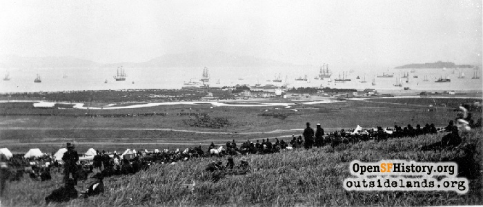View northeast over Presidio toward Alcatraz and Angel Islands, July 3, 1876.