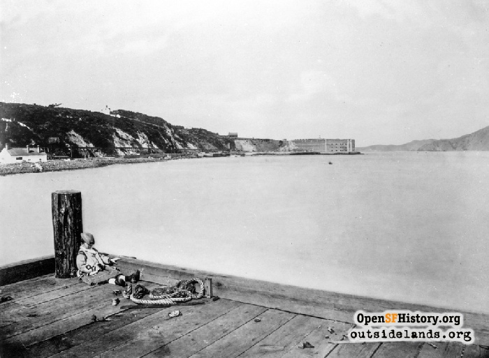 View west to Fort Point from pier, circa 1865.