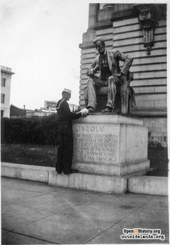 Sailor at Lincoln Statue by City Hall, circa 1937.
