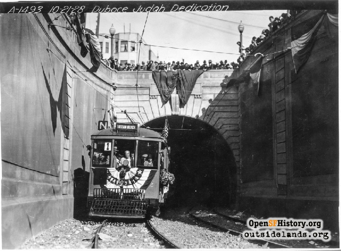 Mayor Rolph at controls of first N-Line streetcar through Sunset Tunnel, October 21, 1928.