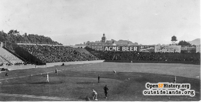 Baseball game at Ewing Field on Lone Mountain, circa 1914.