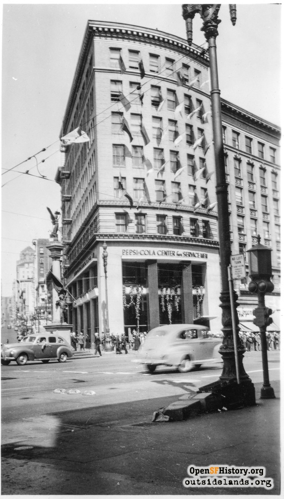Market and Mason Street view to Pepsi-Cola Center, circa 1943
