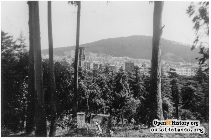 View southeast from Strawberry Hill toward Mt. Sutro, 1939.