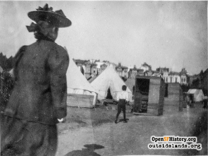 Duboce Park refugee camp with Buena Vista Park in background, 1906.