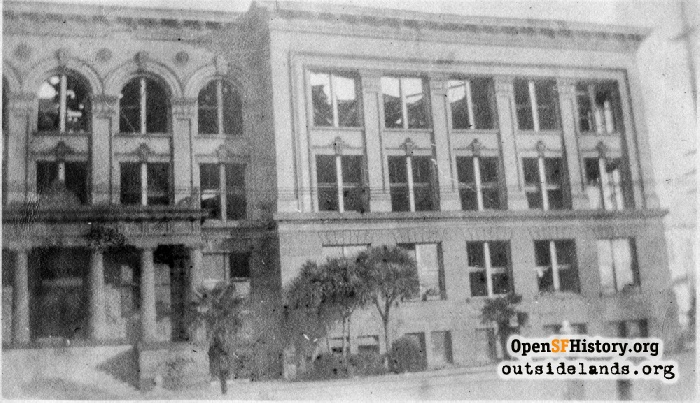 Mission High School after fire, January 1922.