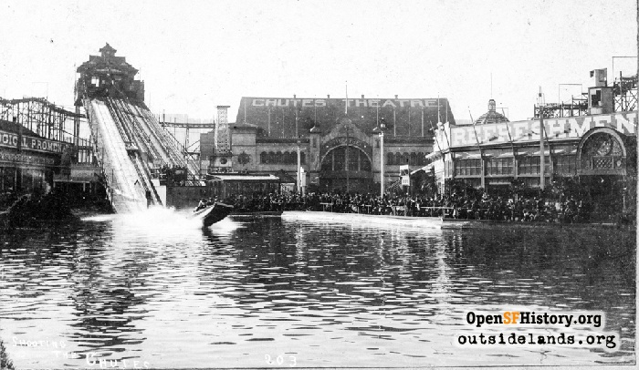 Haight Street Chutes with Scenic Railway, Chutes Theatre, and Refreshments building, circa 1900.