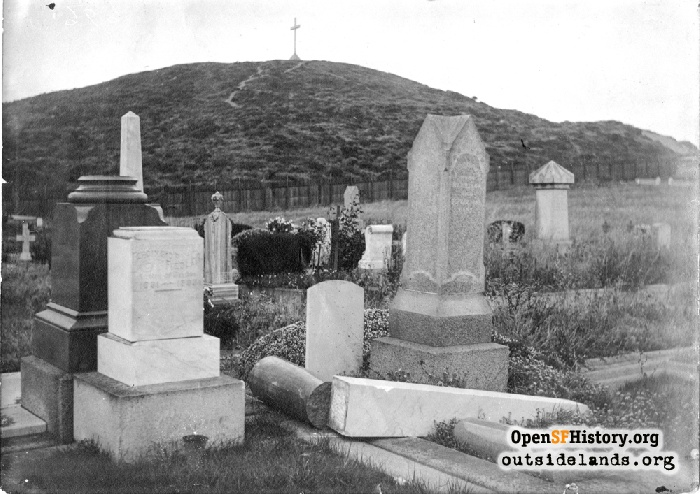 View northwest to Lone Mountain from Masonic Cemetery (near Parker Avenue and Turk Street), 1906.