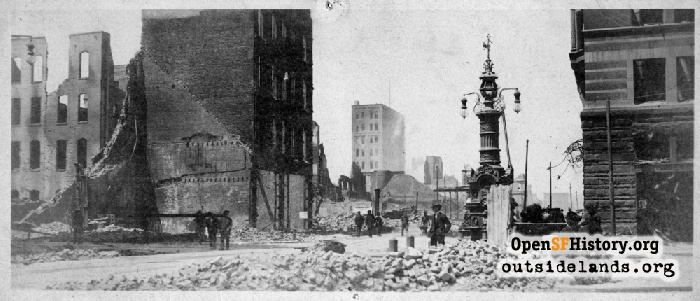 Lotta's Fountain on Market Street in aftermath of 1906 earthquake and fire, 1906.