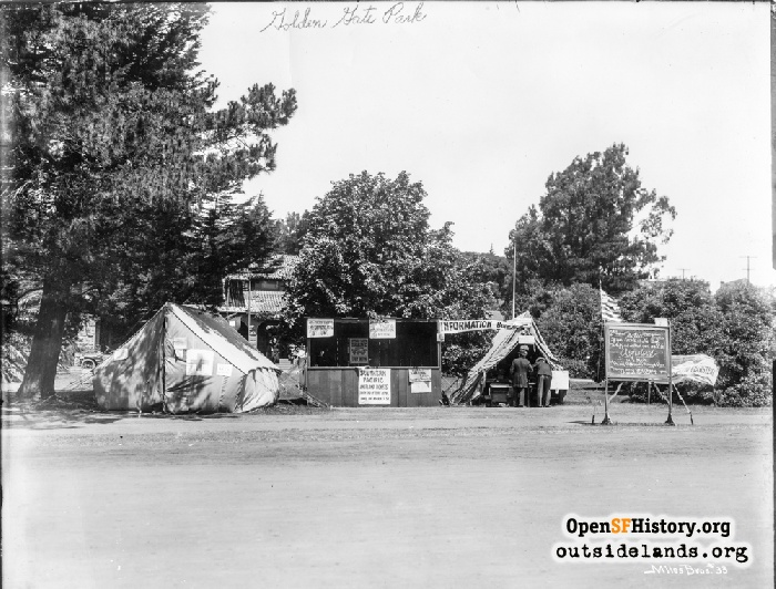 Red Cross tent and Southern Pacific information booth in Golden Gate Park, 1906.