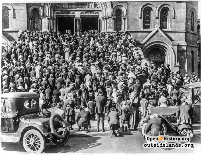 Outdoor Church Services St. Mary's Cathedral, some wearing influenza masks, 1918.