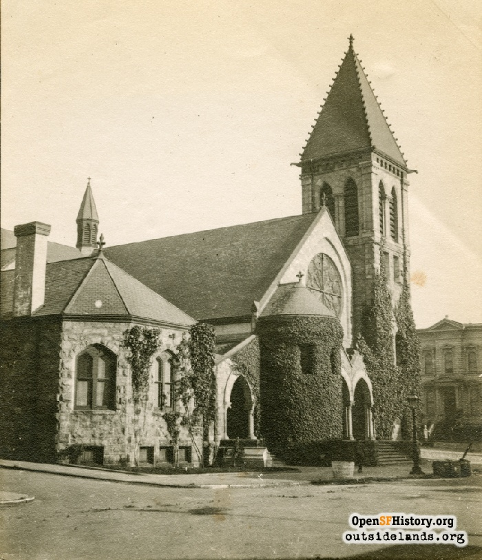First Unitarian Church at Geary and Franklin, Starr King sarcophagus in its original location, circa 1900.