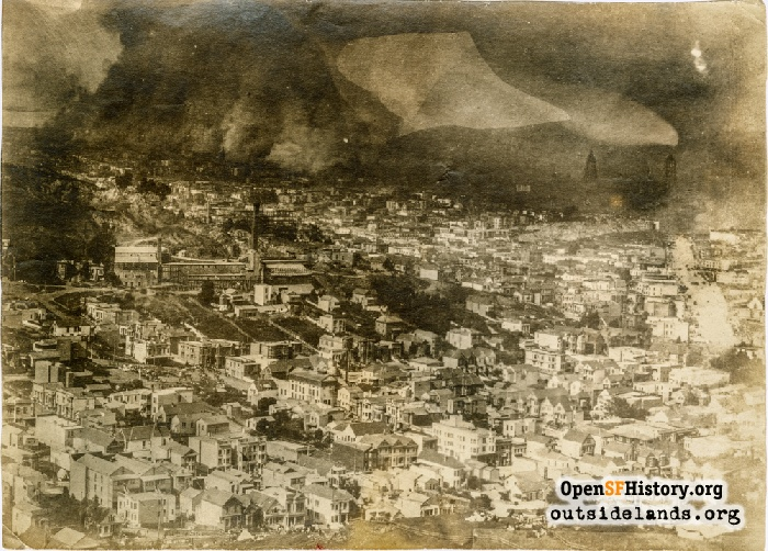 View northeast from lower Twin Peaks, April 19, 1906.