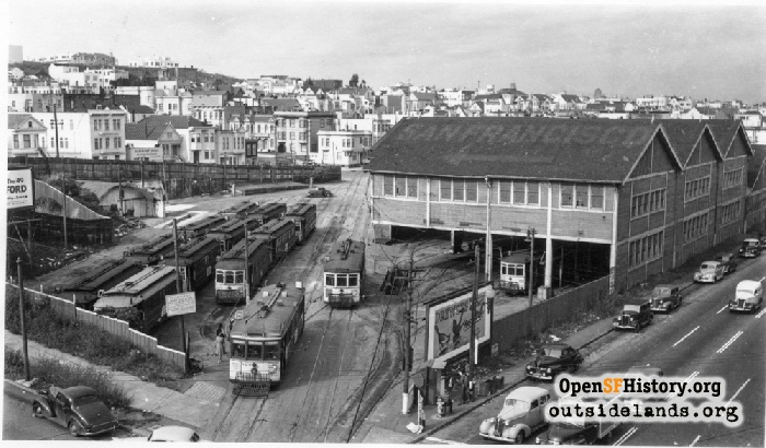 McAllister Car Barn and streetcars, 1948.