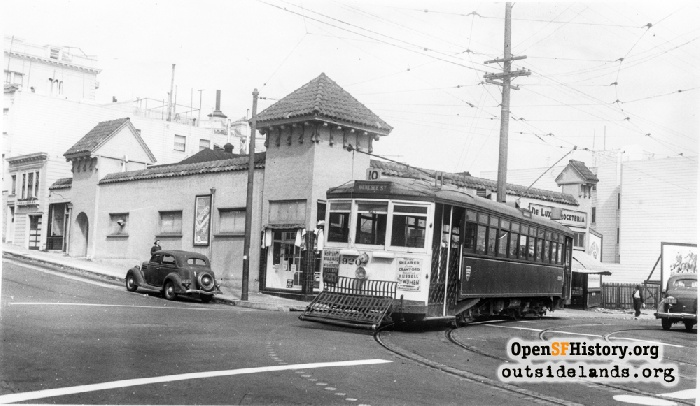 10-Line Streetcar coming off of 14th Street onto Guerrero Street, circa 1939.