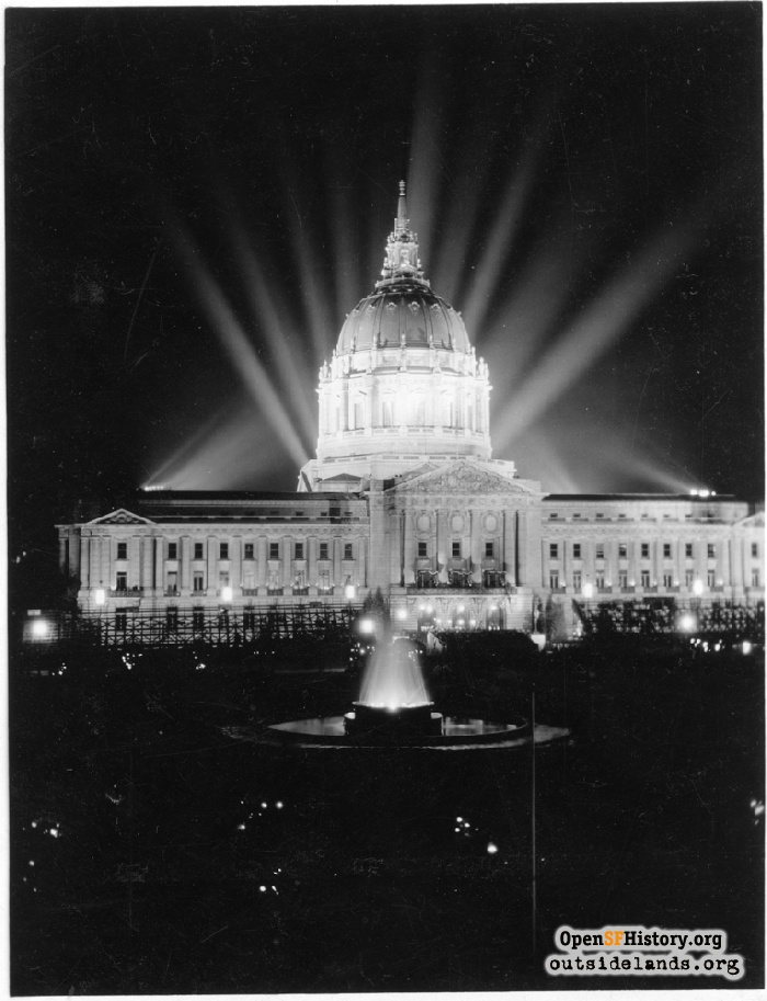 City Hall and fountain lit up at night for Diamond Jubilee, September 1925.