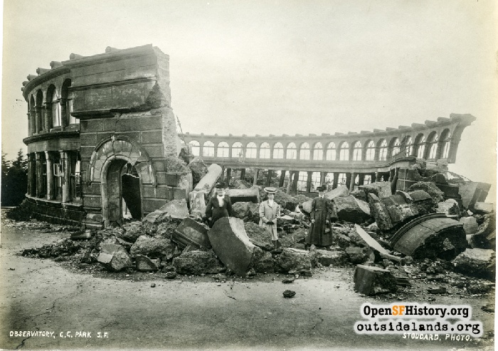 Ruins of Sweeny Observatory after 1906 earthquake.