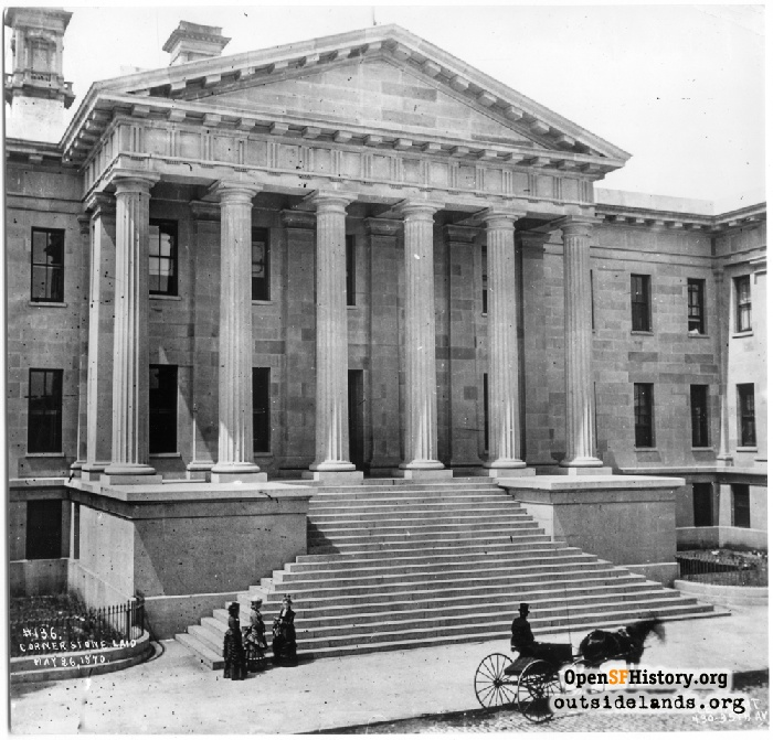 Front steps and portico entrance to U.S. Mint, circa 1875, showing in detail the sandstone facade and original chimneys.