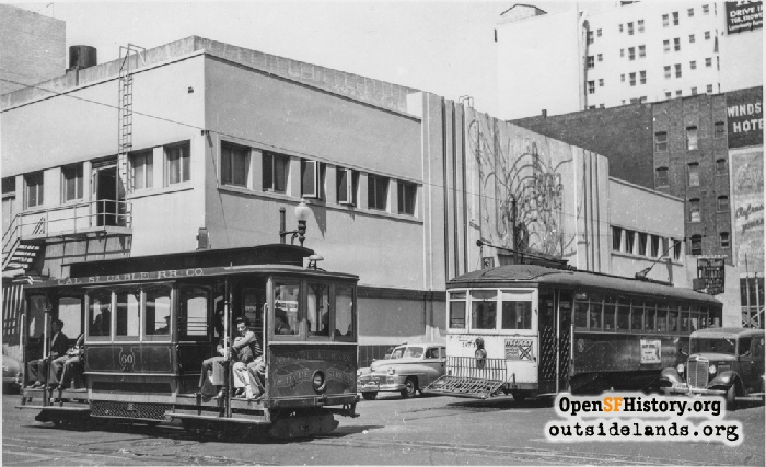 Jones Street Shuttle cable car #60, 31-line Balboa streetcar #974 at Eddy and Jones in 1948.