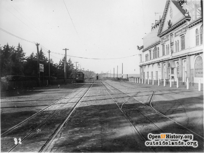 Looking west down Fulton Street with Fulton Chutes at right, January 1904.