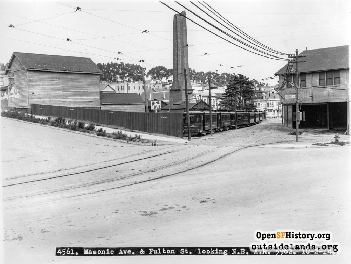Fulton & Masonic looking northeast at McAllister Car Barn and Powerhouse with broken smokestack, October 2, 1914.