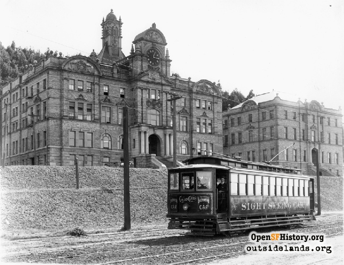 Sightseeing streetcar passing Affiliated Colleges, November 15, 1908.