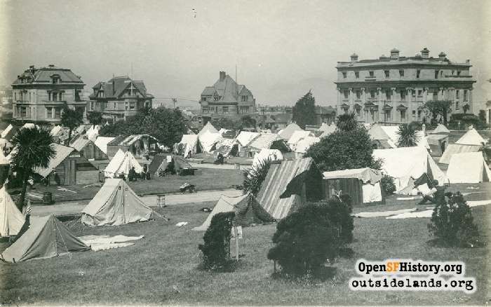 View northwest at Lafayette Park refugee camp, 1906.