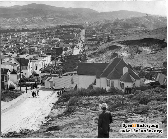 The day after the devastation from the Mount Davidson mudslide, February 7, 1942.