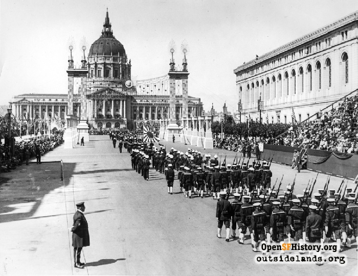 Japanese troops marching toward City Hall during Diamond Jubilee Military Parade, September 8, 1925.