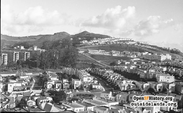 View northeast from Edgehill Mountain to Twin Peaks, circa 1953.