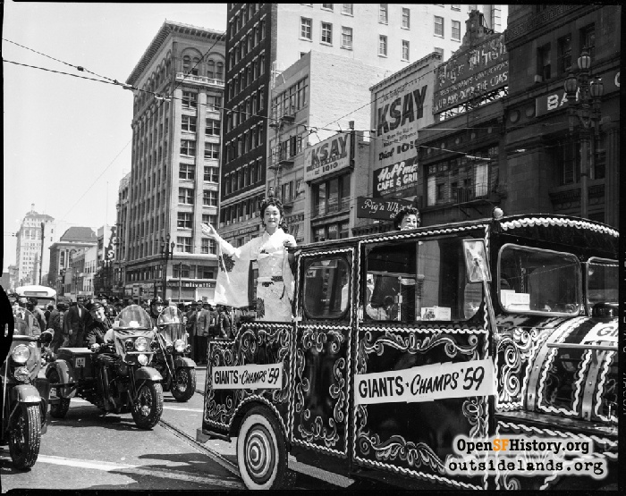 Chinatown float in San Francisco Giants Welcome Parade, April 13, 1959.