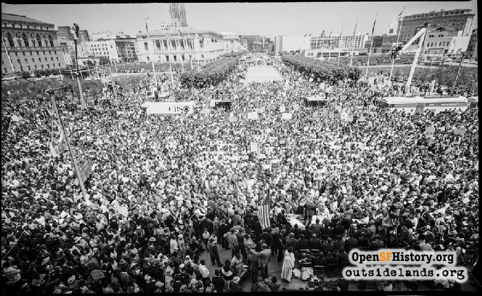 Elevated view of Civic Center Plaza during Civil Rights march, July 12, 1964.