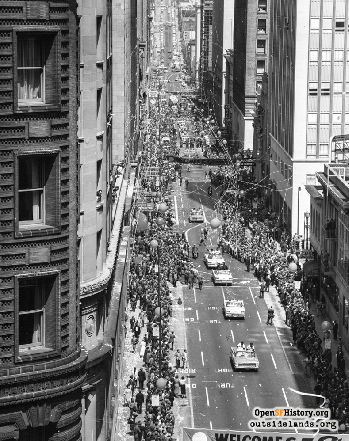 View north of Montgomery Street at San Francisco Giants Welcome Parade, April 13, 1959.